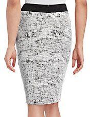 Jacquard Zip Front Pencil Skirt