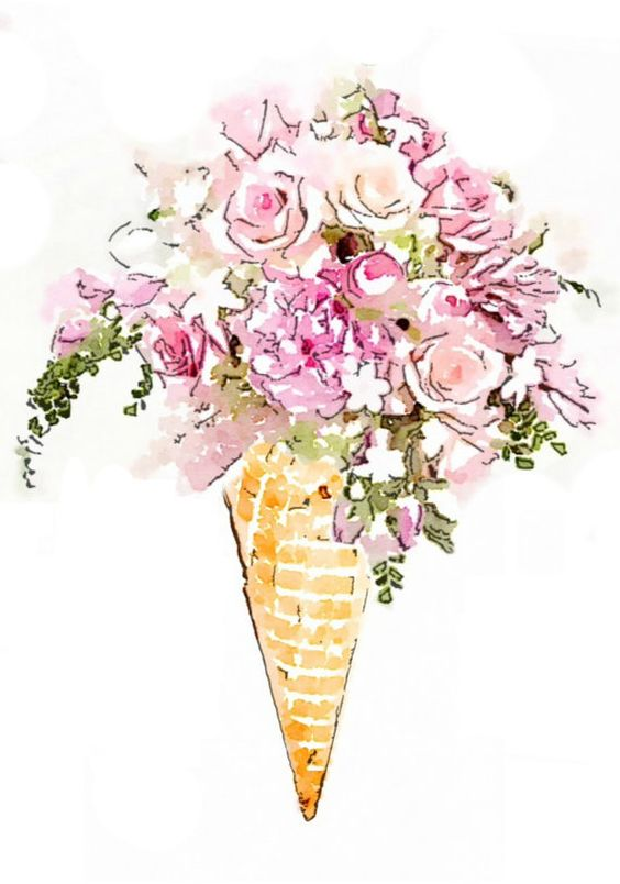 Flower Ice Cream Cone Bouquet Print From Watercolor Painting Watercolor Flowers Paintings Flower Ice Watercolor Flowers