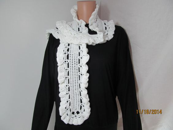 Crocheted Frilly  Scarf  White with Silver  Scarf by Renaixcrochet