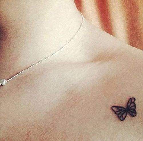 Black Tiny Simple Butterfly Tattoo