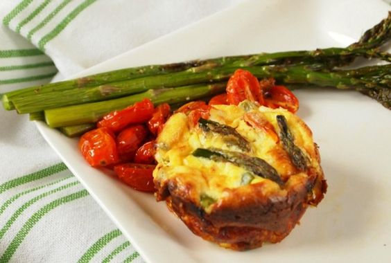 Mini Crustless Quiches with Asparagus and Oven Dried Tomatoes.