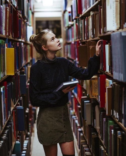 book, girl, and library resmi