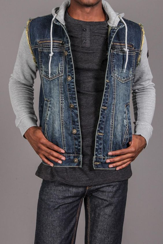 Hooded Denim Jacket W/ Fleece Sleeves | Denim Dayz.. | Pinterest ...