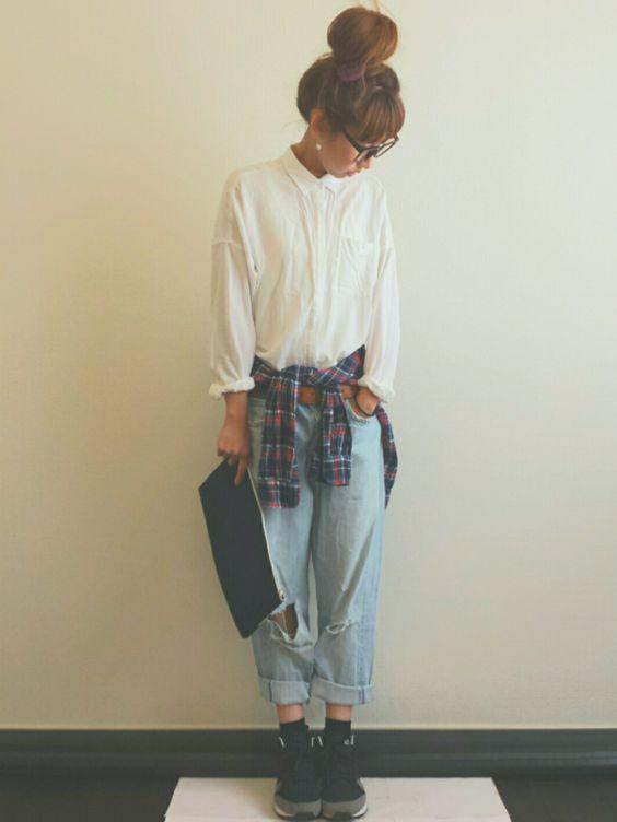 Ayumiさんのシャツ・ブラウス「GLOBAL WORK 【GLOBALWORK】ベルギーリネンシャツ/541843」を使ったコーディネート