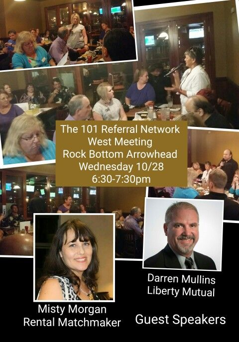 The 101 Referral Network -West monthly meeting Wednesday 10/28!
