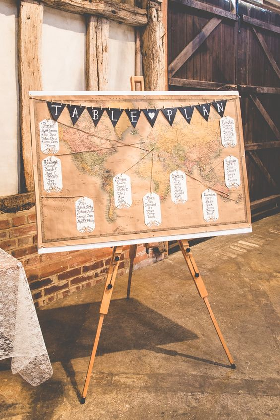 Map Table Seating Plan Luggage Tag Bunting Quirky Summer Country Garden Wedding http://lovethatsmilephotography.com/