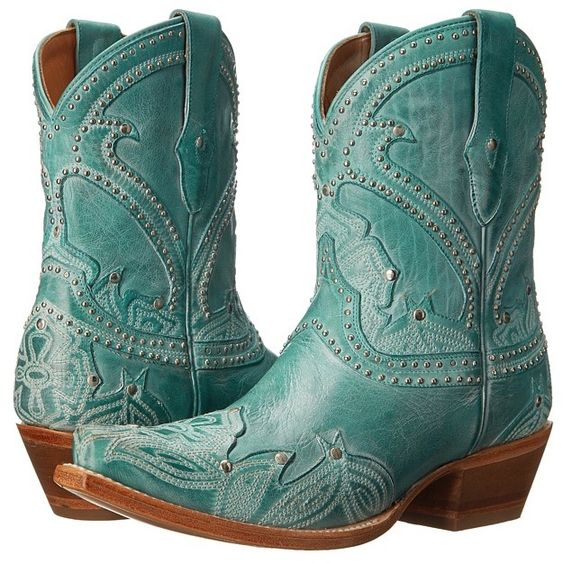 Lucchese Sarabeth cowgirl boots in turquoise.