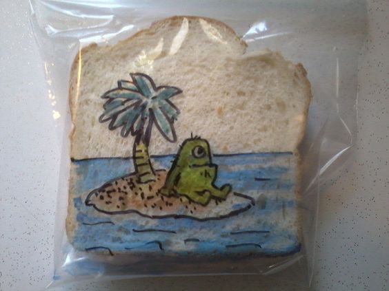 "Every Line Counts * Stranded monster by D Laferriere, via Flickr * Let us introduce you to the cool art of D Laferriere. Every school day he sends his kids off with a sandwich bag that he decorated with a drawing: ""The challenges are coming up with an idea and then drawing quickly and directly on the bag, every line counts."":"