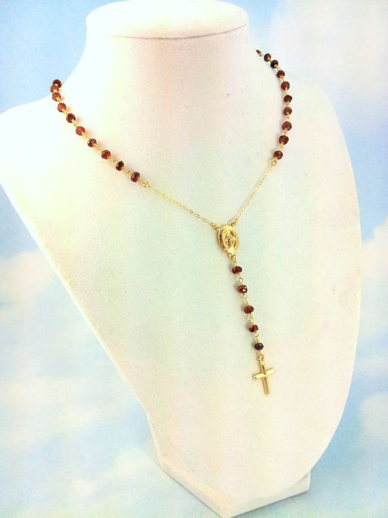 Rosary Necklace Garnet Gemstone 14kt by divinitycollection on Etsy