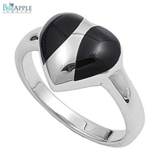 3mm Shiny Elegant Romantic Forever Love Heart Synthetic Black Onyx in Ring Solid 925 Sterling Silver Black Onyx Ladies Promise Ring