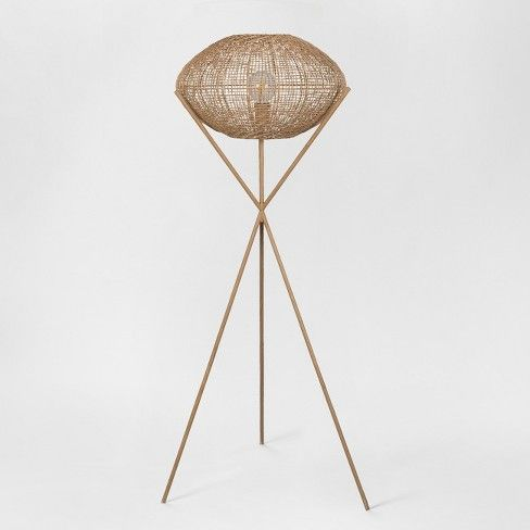 Natural Woven Tripod Floor Lamp Natural Includes Energy Efficient