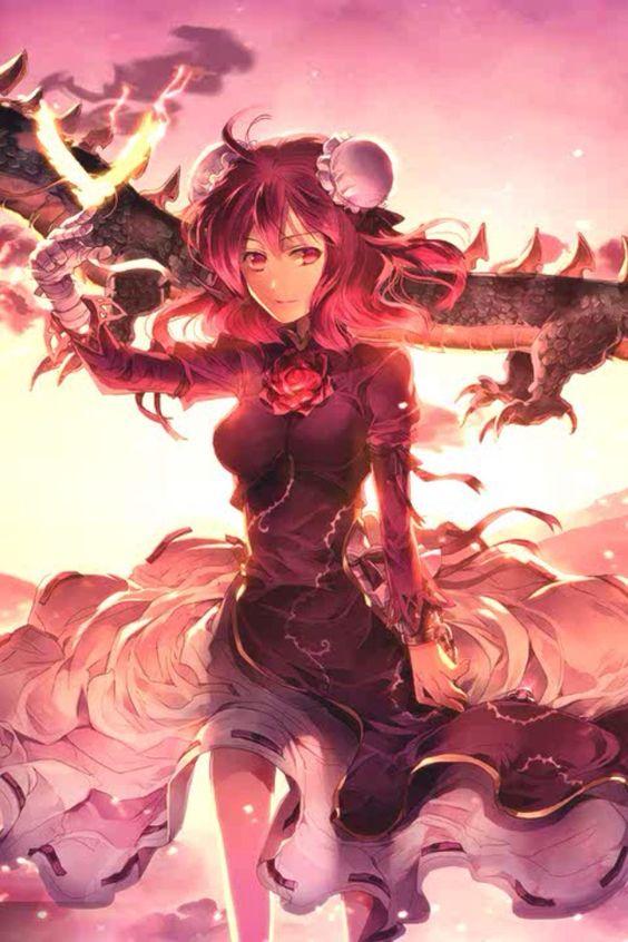girl red hair fire dragon dress magic wallpaper