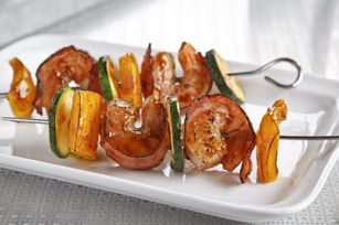 Bacon Wrapped BBQ-Shrimp Kabobs: Bbq Shrimp, Grill Kabobs, Appetizer Recipes, Kraft Food, Kabobs Recipe, Bacon Wrapped Shrimp, Kabob Recipes, Grilled Shrimp Kabobs, Family Recipes