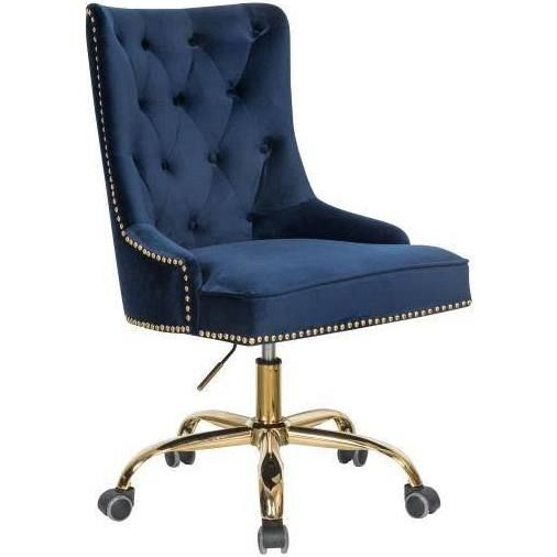 Navy Desk Chair With Gold Base Tufted Office Chair Velvet