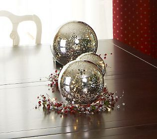 3-piece Lit Mercury Glass Spheres with Timer by Valerie