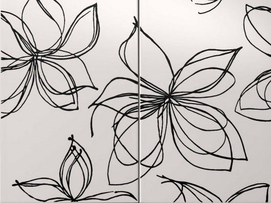 fashionable-designer-white-tiles-black-flower