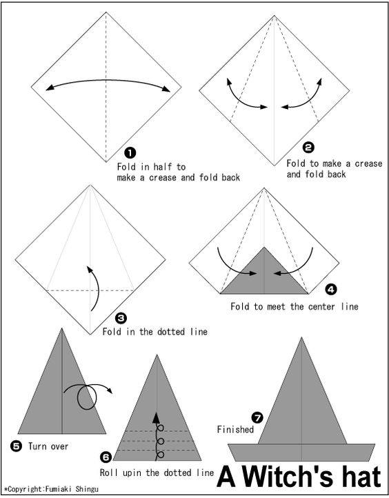 origami a witchs hat instructions easy origami