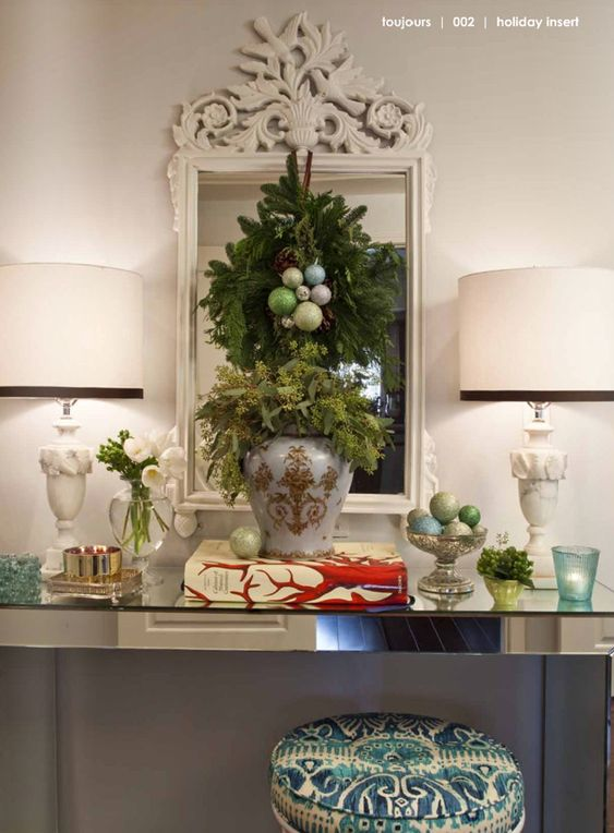 wreath and ornaments on the mirror + footed bowl with ornaments {and dreamy antique lamps}