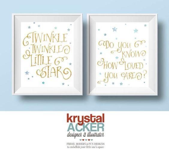 Gold glitter text and watercolor stars.  www.krystalackerdesigns.com