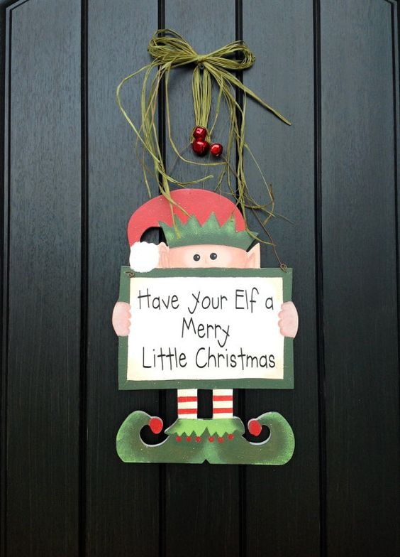 Wooden elf christmas door decor red bells sage raffia for Elf door decoration