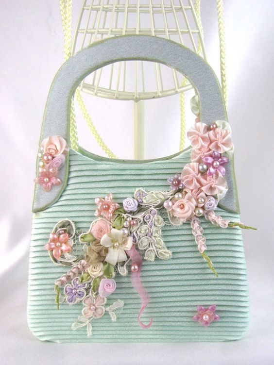 Bags silk and ribbon embroidery on pinterest