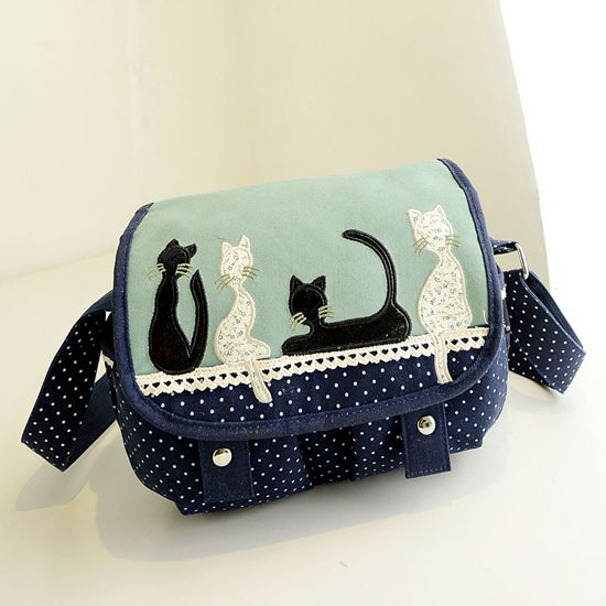 Kitten Polka Dot Shoulder Bag Messenger Bag