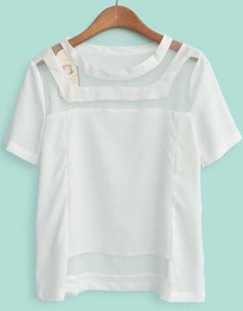 White Short Sleeve Hollow Organza Chiffon T-Shirt - Sheinside.com