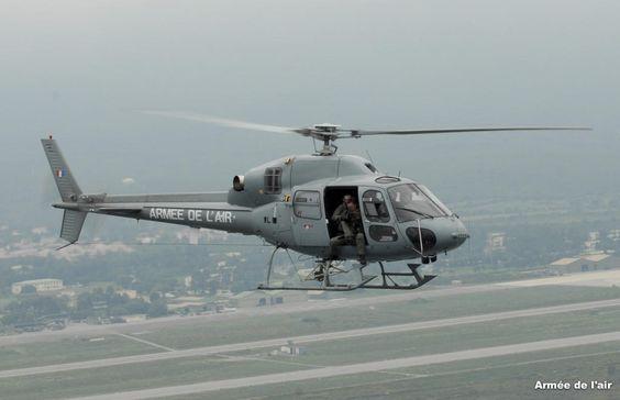 French Armée de l'Air Eurocopter Fennec flying a security mission in vicinity of base aérienne 126 de Ventiseri-Solenzara, in Corsica.