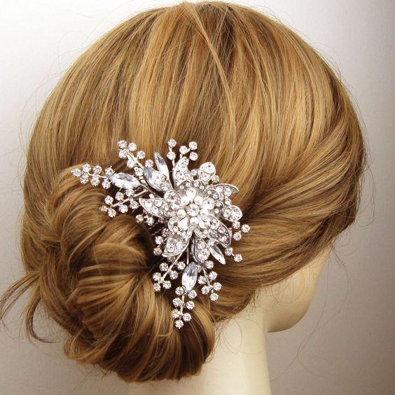 Victorian Style Wedding Hair Comb, Pearl Crystal Bridal Hair Comb, Wedding Hair Accessory, Vintage Bridal Head Piece, STARGAZER III. $92.00, via Etsy.