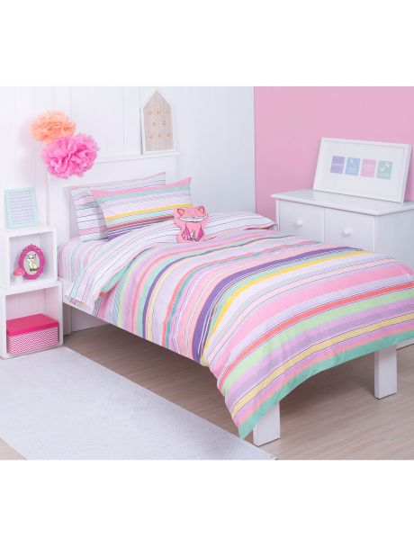 Candy stripes are a sweet sensation in this multicoloured twist on the classic stripe. Fun, bright colours pop and zing, and are sure to delight in this lively bed pack.