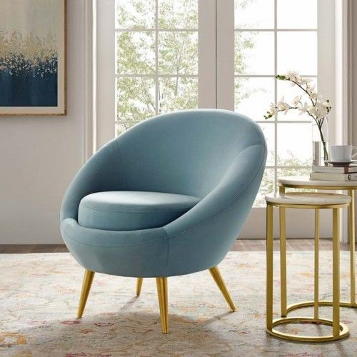 Llight Blue Velvet Round Shape Gold Legs Accent Chair With Images