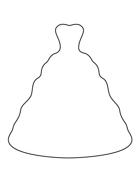 Wedding dress pattern. Use the printable outline for crafts, creating ...