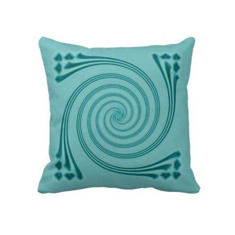 Peacock #Blue #Whirligig #Pillow