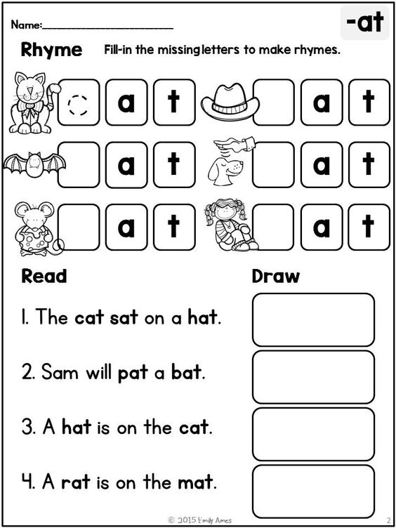 Worksheets Sentences With Rhyming Words For Kids rhyme read draw no prep differentiated shorts simple and short vowels focus on
