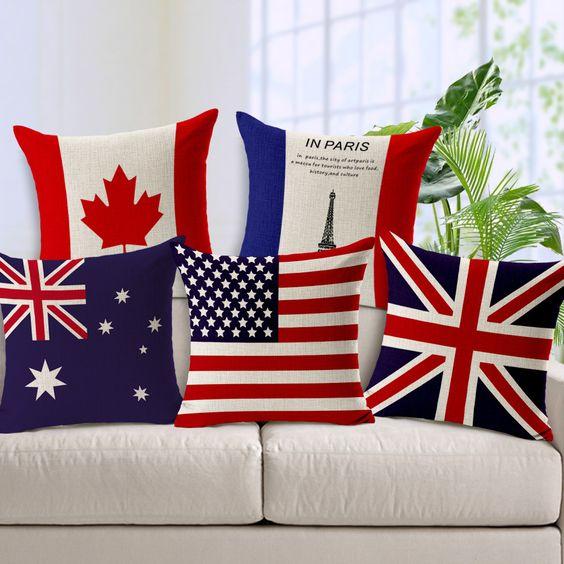 Cheap Mundo de la bandera Nacional de Reino Unido Estados Unidos Australia Banderas Decorativas de Lino Del Amortiguador Covers Fundas de Almohada para el Sofá BZT 96, Compro Calidad Fundas de Cojines directamente de los surtidores de China:                                                                                                           &n