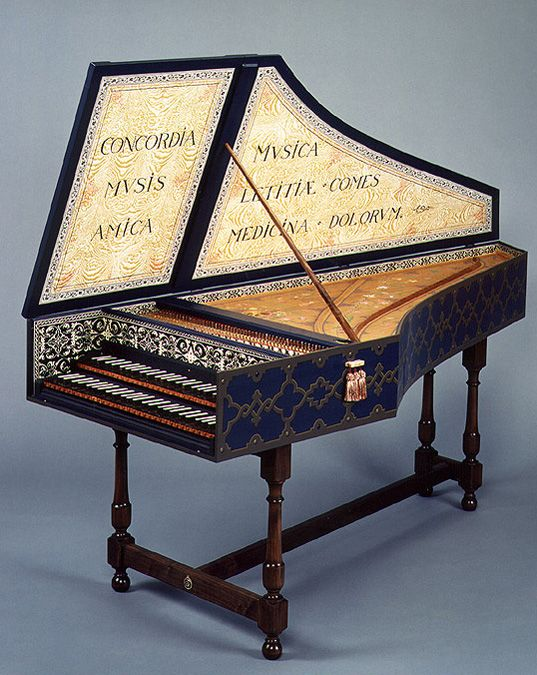 Harpsichord with Flemish Strapwork painted by Adrian Card