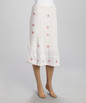 Another great find on #zulily! White & Red Floral Embroidered A-Line Skirt by Papillon Imports #zulilyfinds