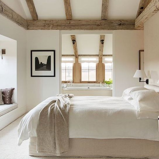 Happy Sunday Friends We Re So In Love With This Serene Space Swooning Over The Warm Tones Natu Modern Farmhouse Bedroom Remodel Bedroom Home Decor Bedroom