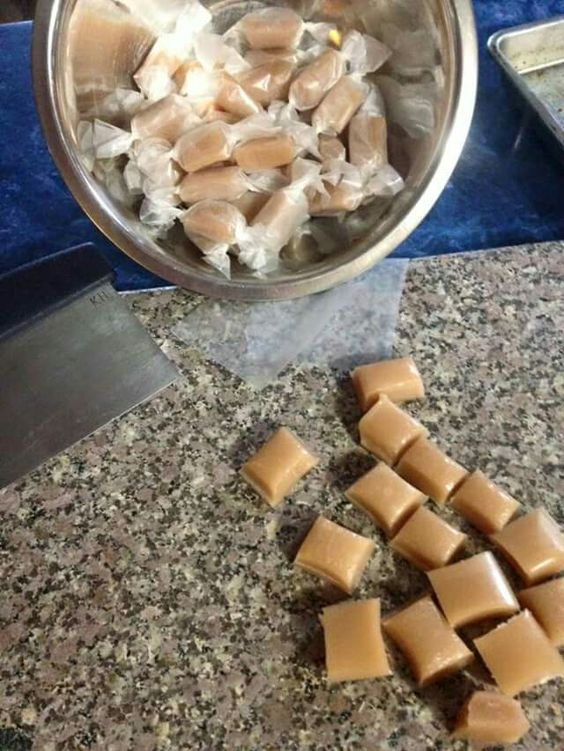Caramels, Chewy ,rich, simple recipe, foolproof! Always a hit!