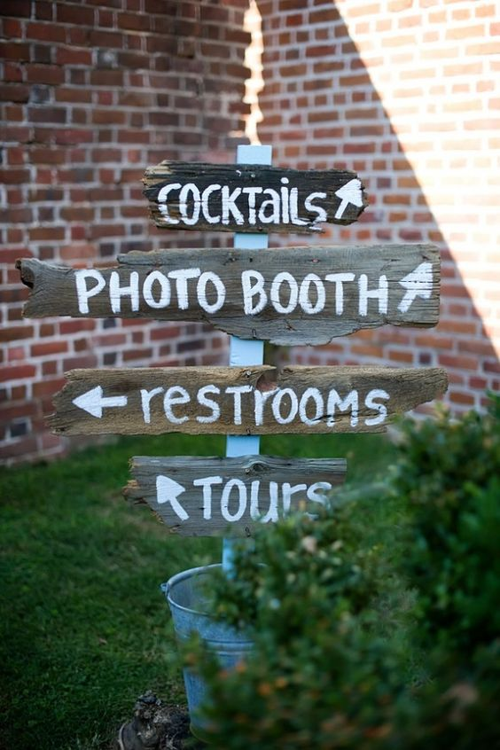 Wood Wedding Directional Signs