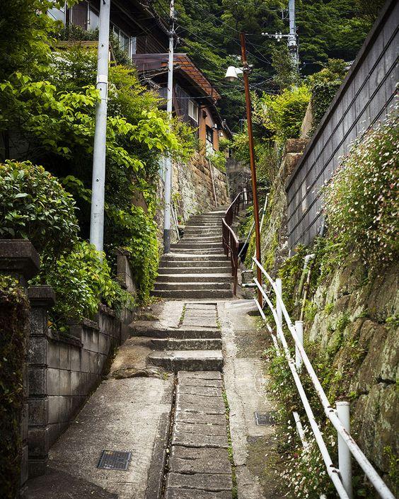 緑と階段のわびさびある路地裏