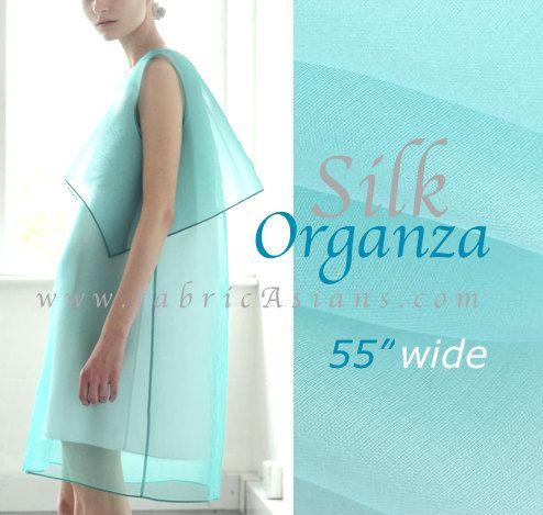 Lovely Aqua Silk Organza Fabric by fabricAsians