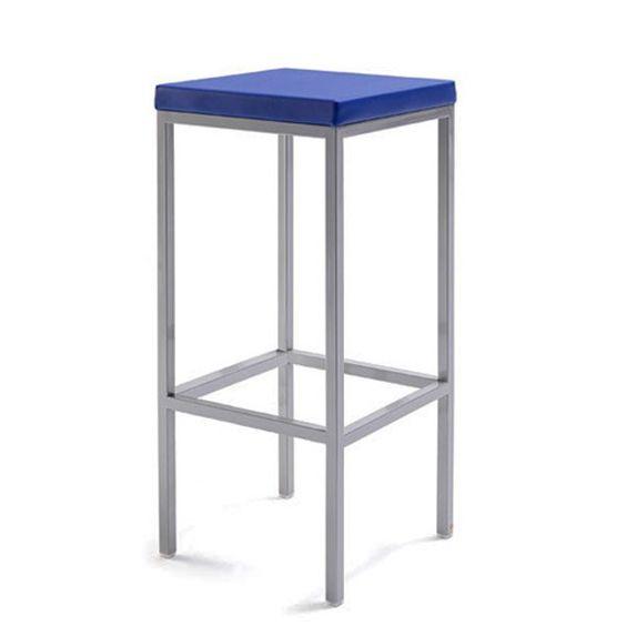 Taburetes de cocina altos robin tapizados en color azul for Taburetes altos para cocina