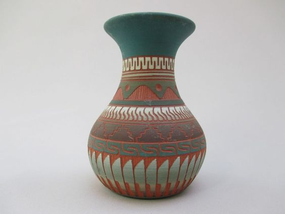 Vintage Native American Indian Etched Red Clay Pottery Vase Signed E. W. Navajo