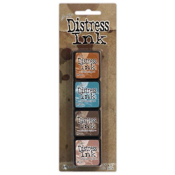 Distress ink 6, Rusty Hinge, Broken China, Gathered Twigs, Victorian Velvet