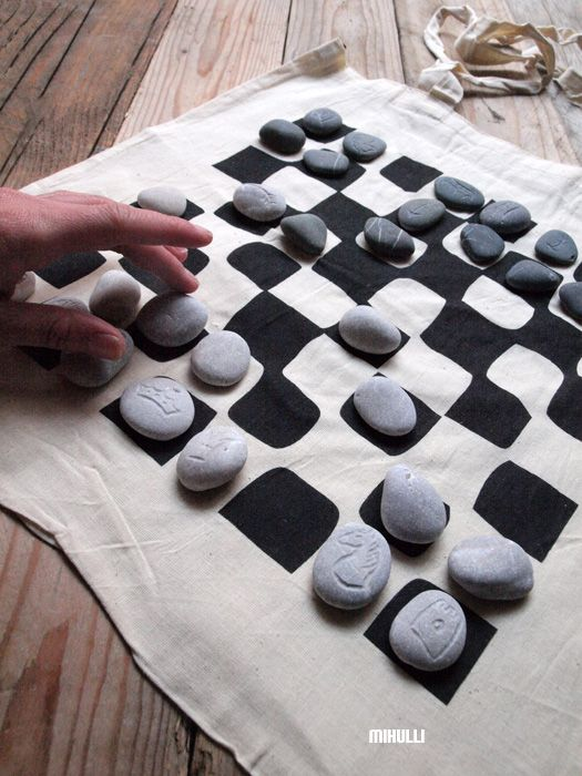 handmade chess  - engraved sea pebbles