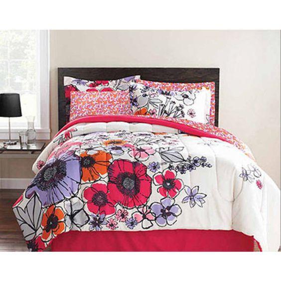 Teen bedding pink purple orange flowers full comforter - Orange and purple bedding ...