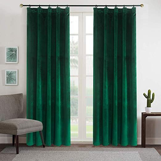 Amazon Com Roslynwood Blackout Velvet Curtains Emerald Green Rod