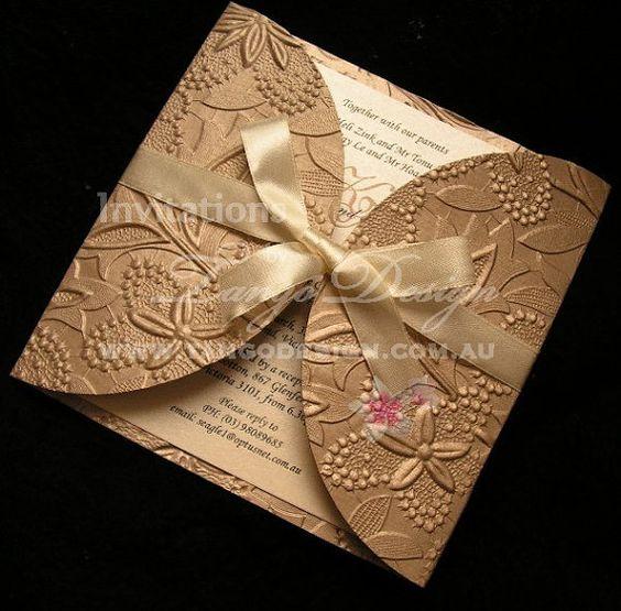 White wedding invitations Ivory wedding invite – Embossed Wedding Invitations