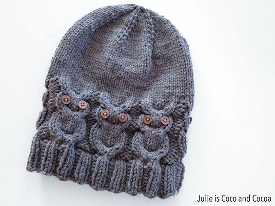 Knitting Pattern Owl Beanie : Owl Hat Knit Pattern Knitting, Hats and Patterns